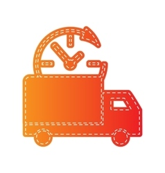 Delivery sign  orange applique vector