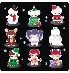 cartoon Christmas characters vector image