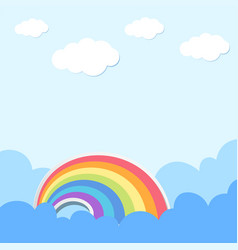 background scene with rainbow and clouds vector image
