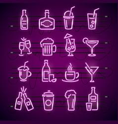 bar neon signs thin line icon set vector image vector image
