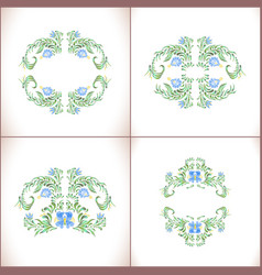 blue flowers set floral art ornamen vector image