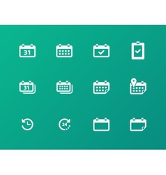 Calendar icons on green background vector image
