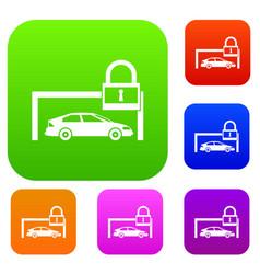 Car and padlock set collection vector