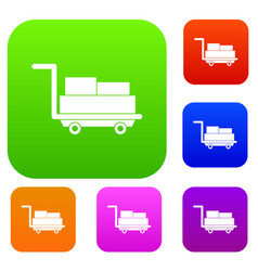 cart with luggage set color collection vector image vector image