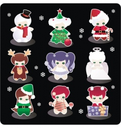 cartoon Christmas characters vector image vector image