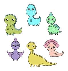 Cawaii dinosaurs set cartoon characters vector