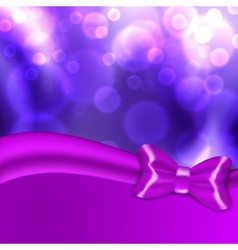 Christmas background with purple bow vector image