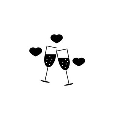 Clinking champagne glasses with hearts sloid icon vector
