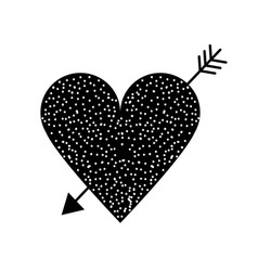 Contour beauty romantic heart with arrow design vector