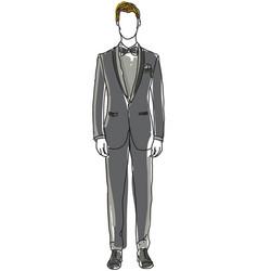 Drawn man in black suit vector