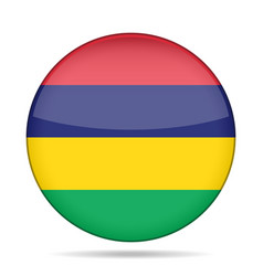 Flag of mauritius shiny round button vector