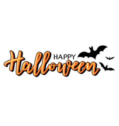 halloween lettering with bats vector image vector image