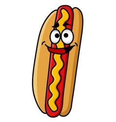 Happy hot dog with moustard vector image