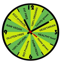 healthy food concept with clock vector image vector image