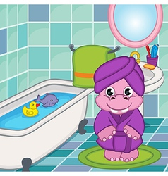 Hippo girl in bathroom vector