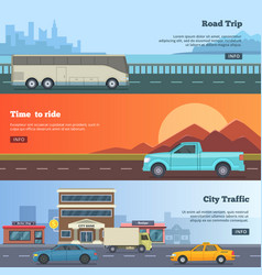 horizontal banners with different cars road trip vector image vector image