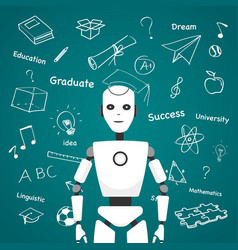 Intelligent robot with educational icons design vector