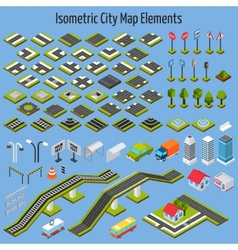 Isometric City Map Elements vector image