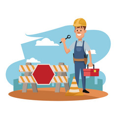 Labor day construction man employee celebration vector