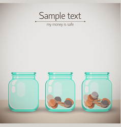 money glass jars background vector image