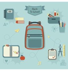 School items icon set vector