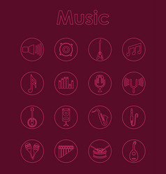 Set of music simple icons vector