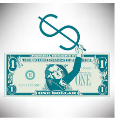 Simplified and stylized dollar bill with george vector