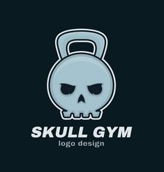 Skull weight kettlebell modern style vector