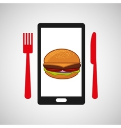 smartphone order hamburger food online vector image vector image