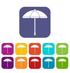 Sun umbrella icons set vector