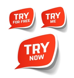 Try now try for free and try me speech bubbles vector