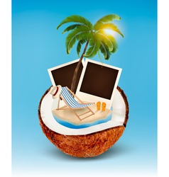 Vacation concept palm tree photos and beach chair vector