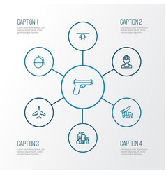 Warfare outline icons set collection of weapon vector