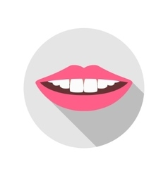 Woman Mouth with white Teeth and red Lips vector image