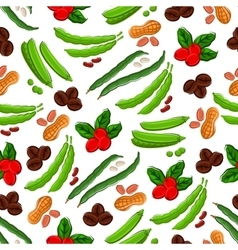 Vegetables nuts berries semaless background vector