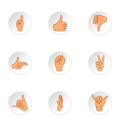 Communication gestures icons set cartoon style vector