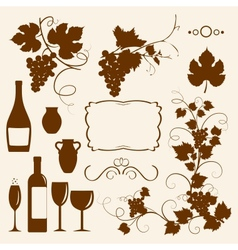 Winery design objects silhouettes vector