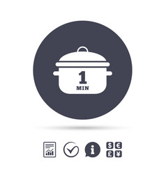boil 1 minute cooking pan sign icon stew food vector image
