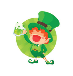 happy leprechaun holding beer vector image