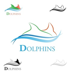 stylized dolphins vector image