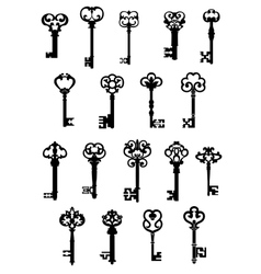 Large set of ornate vintage keys vector