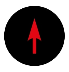 Arrow axis y flat intensive red and black colors vector