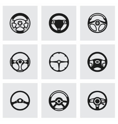 Steering wheels icon set vector