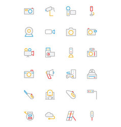 Electronics and devices colored outline icons 5 vector