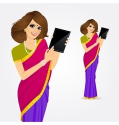 Woman showing tablet screen vector