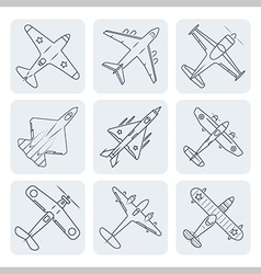 airplanes thin outline icon set vector image