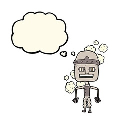 Funny cartoon old robot with thought bubble vector