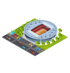 Tennis sport complex with open court stadium vector