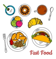 Popular sketchy dishes of fast food menu for lunch vector