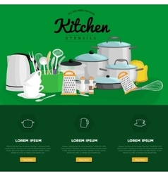 Food and cooking banner set with kitchenware vector